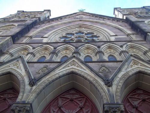 bažnyčia, raudona, durys, gotika, katalikų, katalikų bažnyčia