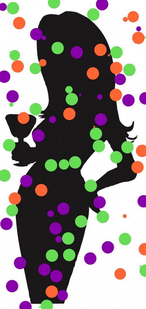 moteris, siluetas, juoda, stiklas, šventė, šventė, spalvos, rutuliai, šventė