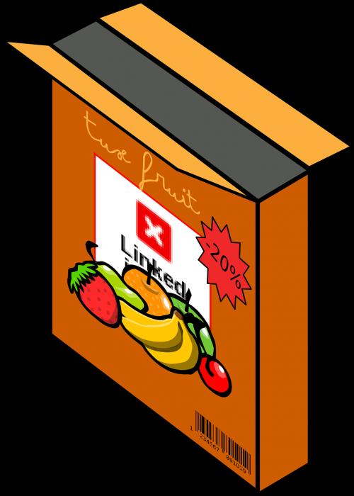 javai,dėžė,bananai,braškės,bakalėja,bakalėja,pusryčiai,grūdai,maistas,nemokama vektorinė grafika