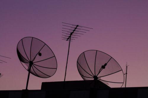 dangus, antenos, violetinė, rožinis, saulėlydis, violetinis dangus ir antenos
