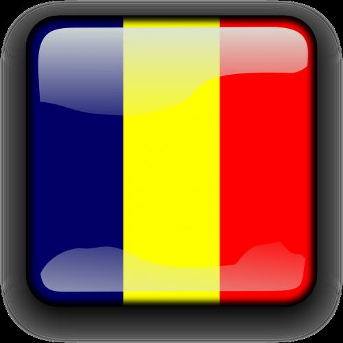 Čadas,vėliava,Šalis,Tautybė,kvadratas,mygtukas,blizgus,nemokama vektorinė grafika