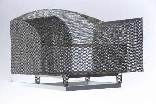 kėdė,metalinė juostelė,meno galerija,šiuolaikinių paveikslų galerija,Munich,dizainas
