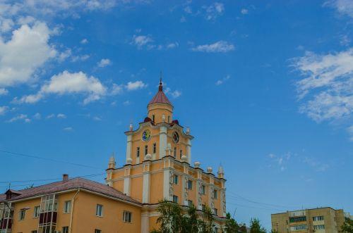 koplyčia,laikrodis,kostanay,Kazachstanas,miesto aikštė,Miesto centras,laikas,vasara