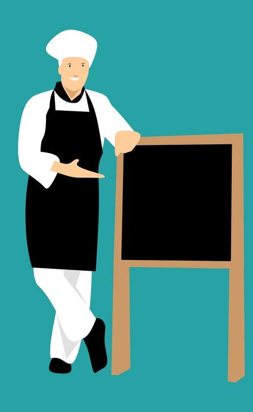 virėjas,idėja,restoranas,rodyti,balta,stovintis,darbo drabužiai,rinkodara,vyras,Meniu,plakatas,pardavėjas,šypsosi,skelbimų lenta,skelbimas,skrybėlę,tuščia,rekomenduoti,reklama,reklama,Patinas,išraiška,asmuo,uniforma,lentynas,parduoti,pardavimas,reklama,iškabą,lenta