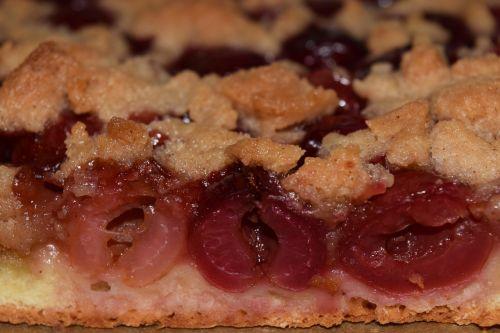 vyšnių pyragas,Uždaryti,lakštinis pyragas,streuselo pyragas,saldus,skanus,desertas,valgyti