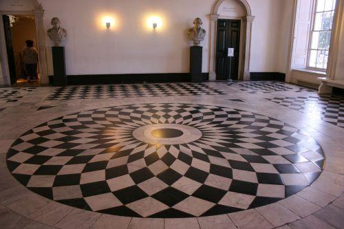šachmatų grindys,juodos ir baltos grindys,Greenwich,Londonas,grindys,simetrija