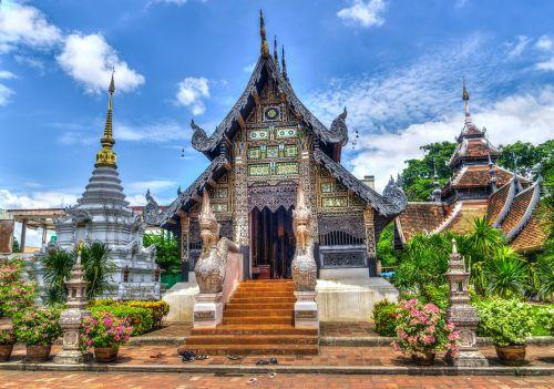 Chiang Mai,Tailandas,šventykla,religija,kelionė,gamta,dangus,debesys,kraštovaizdis,lauke,dvasingumas,vasara,gėlės,saulės šviesa,sodas
