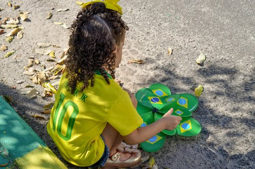 vaikas, Brazilija, hexa, copado pasaulis, Futbolas, Brazilija vėliava, vytos