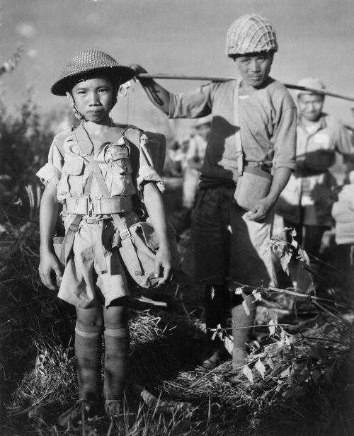 Vaikų Kareiviai, Karas, Kinija, Kinai, Vaikai, 1944, Pasaulinis Karas, Ww 2, Ww Ii, Antrasis Pasaulinis Karas, Asija, Juoda Ir Balta
