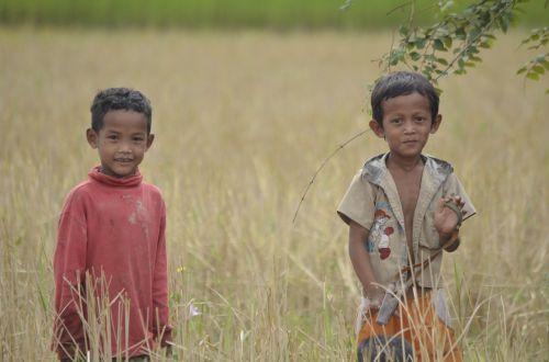 Vaikai, Kambodža, Asija