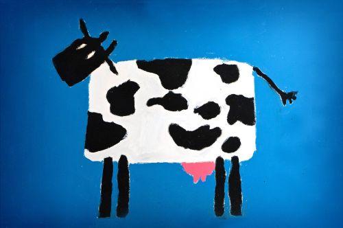 vaikų piešimas,mokykla,Atgal į mokyklą,dažyti,mokymas,medžiaga,karvė,kartonas,Plaka,spalva,mėlynas,dėmės,menų klasė