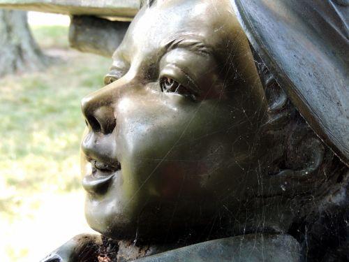 vaikas, veidas, jaunas, asmuo, statula, paminklas, bronza, vaiko veido veidas