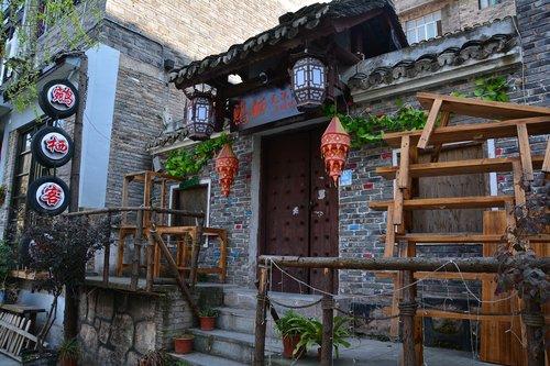 Kinija, miestas pastatas, zhenyuan, Senamiestis, peizažas, kraštovaizdis, kalnai, kiemas, Turizmas, Senovinė architektūra, pietryčius Guizhou