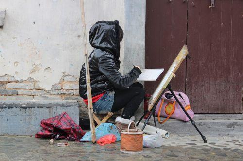 Kinija, mergaitė, dažyti, portretas, menas