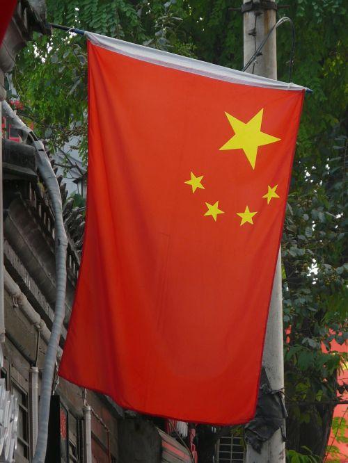 Kinija, vėliava, raudona, žvaigždės, tauta