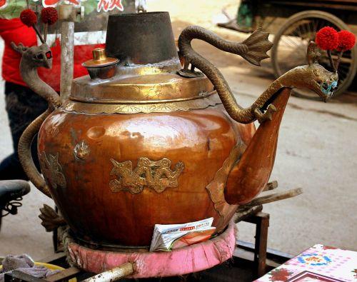 objektas, virdulys, arbata & nbsp, virdulys, Žalvaris, varis, metalas, kinai, laivas, pour, snapelis, kiniškas virdulys
