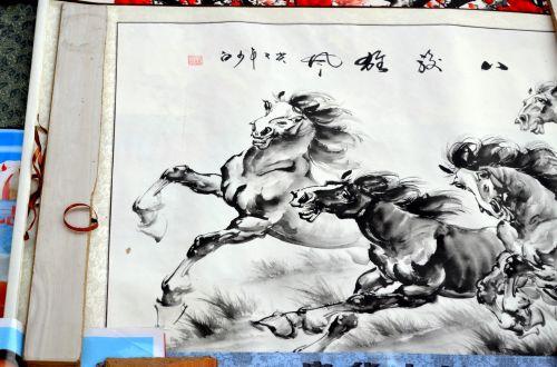 gyvūnai, slinkite, dažyti, dažytos, piešimas, menas, meno kūriniai, Kinija, kinai, arklys, kiniški dažyti slinkties klavišai
