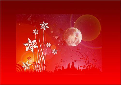 Kalėdos,eiskristalio,sniegas,mėnulis,siluetas,miestas,žvaigždė,atvirukas,raudona,Kalėdinis atvirukas,Adventas,Kalėdų laikas,atvirukas