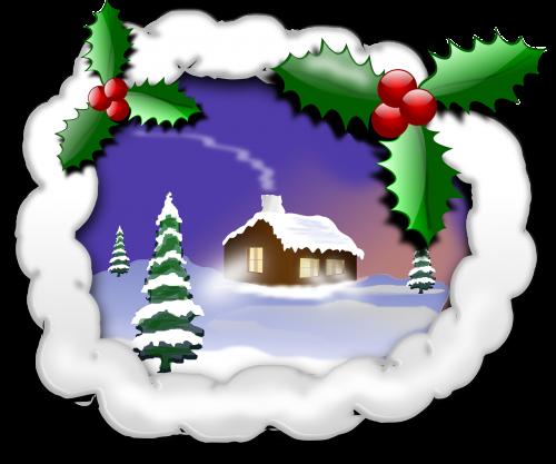 Kalėdos,xmas,x-mas,kraštovaizdis,žiema,medis,eglės,Holly,Ilex,sniegas,nemokama vektorinė grafika