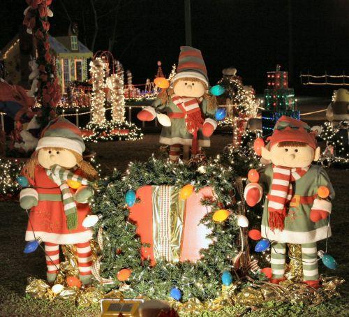 Kalėdos, Elfas, žibintai, šviesti, naktis, lauke, šventė, Kalėdų elfas