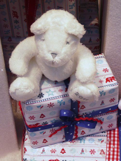 Kalėdos, pakavimas, popierius, balta, turėti, juosta, dovanos, mėlynas, siurprizas, sezonas, šventė, raudona, troškimas, Kalėdinis ornamentas