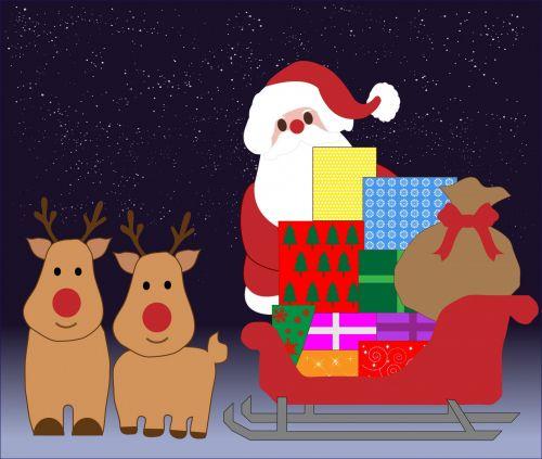Kalėdos, santa, santa & nbsp, claus, tėvas & nbsp, Kalėdos, šiaurės elniai, dovanos, rogės, animacinis filmas, menas, iliustracija, naktis, Scrapbooking, xmas, kortelė, Kalėdų santa su rogėmis
