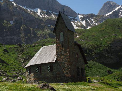 bažnyčia,koplyčia,meglisalp,alm,Alpių kaimas,appenzell,vidausrhoden,Alpsteino regionas,Kelionės tikslas,namai,migracijos tikslas,Sakntis regionas