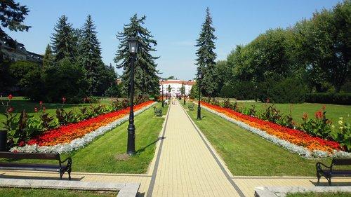 Ciechocinek, Lenkija, Turizmas, gėlės, pobūdį, Peržiūrėti, dangus, vasara, šventė, medis, ramybė, takas, atsipalaidavimas, šventės, peizažas, kelionė, poilsis