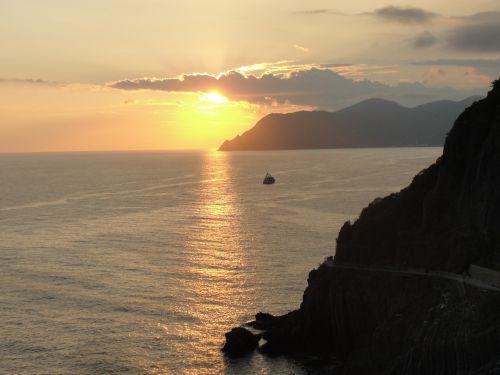penki & nbsp, žemių, Italija, jūra, vandenynas, uolos, penki žemes saulėlydis ii