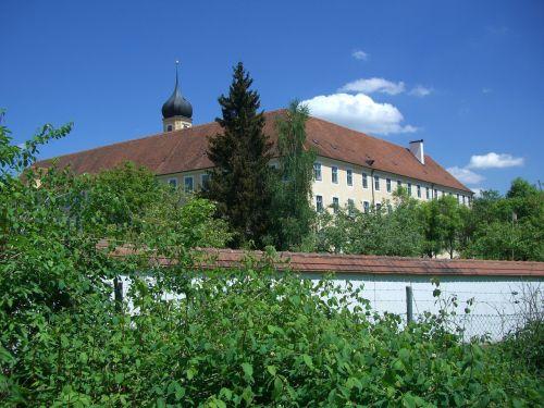 cistercianų abatija,oberschönenfeld,vienuolyno siena,swabia,bavarija