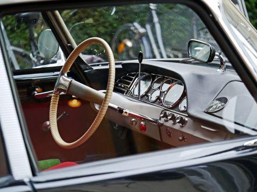 Citroen,ds19,legenda,prietaisų skydelis,einspeichenlenkrad,vidinis veidrodis,selektoriaus svirtis,deivė,france,klasikinis,senoji,oldtimer,įvykis kyla,id19,1955
