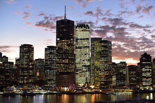 miestas,panorama,miesto panorama,miesto panorama,centro,dusk,panorama,vanduo,upė,Brisbane,pastatai,dangus,vakaras,vaizdas