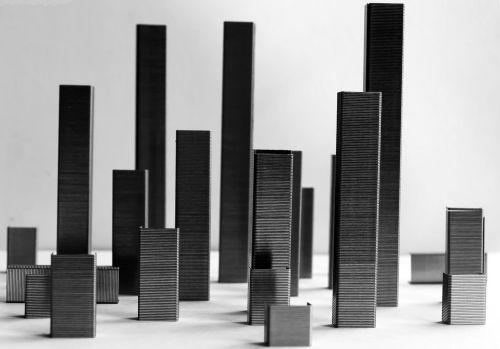 miestas, abstraktus, modelis, juoda, balta, sruogos, įsivaizduojama, pastatai, dangoraižiai, fonas, Miestas, miestas