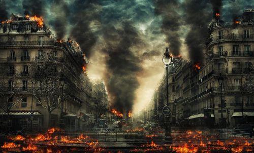 miestas,nelaimė,pasaulio pabaiga,Ugnis,apokalipsė,žaibas,pastatas,dūmai,niokojimas,sunaikinimas,Gamtos jėga