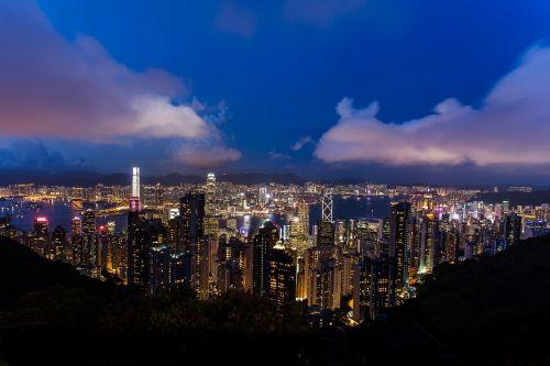 Honkongas,miesto panorama,Kinija,naktis,miesto panorama,miesto scenos,miesto panorama,miesto panorama,metropolis,dangoraižis,dusk,vaizdas,panoraminis