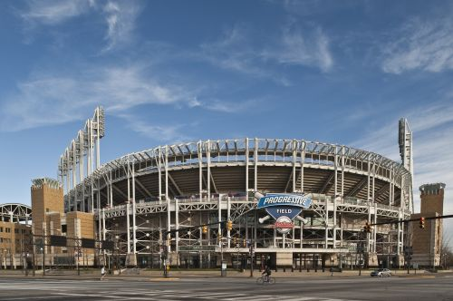 Cleveland,Ohio,Oi,centro,verslas,Turistų kelionės tikslas,kelionė,turizmas,Kelionės tikslas,Cleveland india stadionas,laipsniškas laukas,beisbolas,stadionas,žibintai,aikštė,indėnai