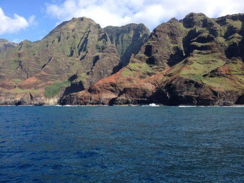 uolos,vandenynas,vanduo,kraštovaizdis,vaizdingas,kranto,napali pakrantė,kauai,Hawaii,Hawaii pakrantėje
