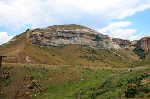 kalnai, Drakensbergas, auksiniai & nbsp, vartai & nbsp, nacionalinis & nbsp, parkas, uolos veidas ant kalno