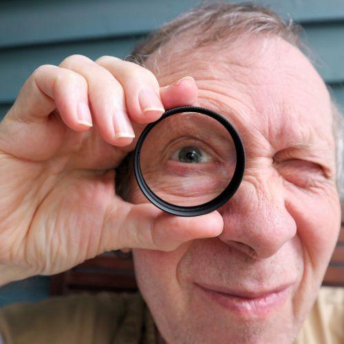 žiūri, per, Iš arti, objektyvas, savarankiškai, portretas, juokinga, vaizdas, closeup objektyvas