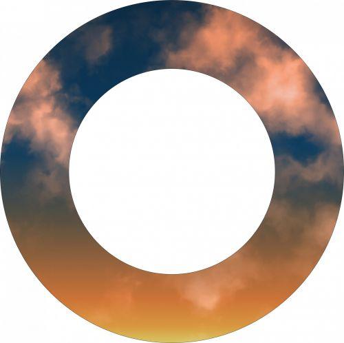 debesis, žiedas, rėmas, apvalus, centras, balta, izoliuotas, dusk, debesų rėmas