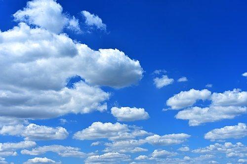 debesuotas dangus, debesys, Cumulus, kamuoliniai debesys, vasaros diena, dangus, mėlyna, Sunny, saulėta diena, Cumulus debesys, baltos spalvos, debesys forma, oras
