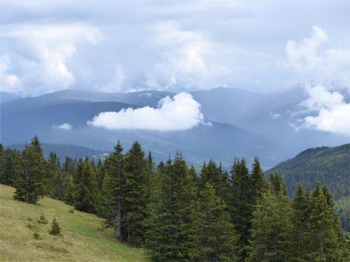 debesys,kalnai,miškas,kraštovaizdis,miškai,natūralus spektaklis,nuotaika