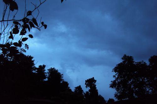 Debesuota, naktis & nbsp, kritimas, naktis, tamsi, juoda, debesuota naktis rudenį