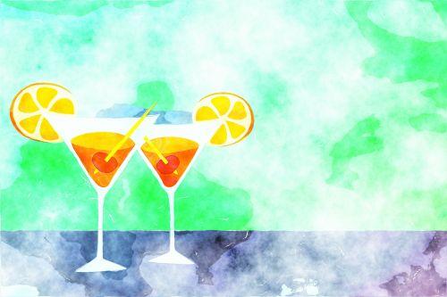 akvarelė, akvarelė, dažyti, dažytos, dažymas, iliustracija, rašalas, šlapias, mišinys, menas, meno, fonas, gėrimai, gėrimai, kokteiliai, alkoholis, akiniai, atogrąžų, citrusiniai, stiklas, kokteilių gėrimai
