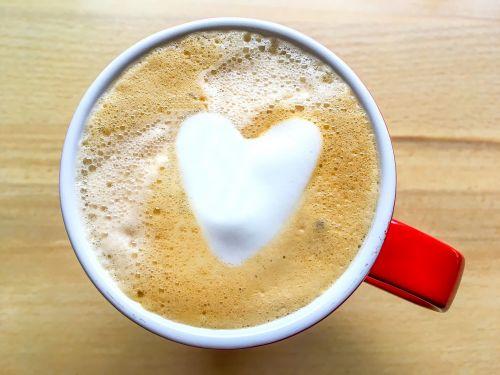 kava,gerti,širdis,cappuccino,taurė,Milchschaum,raudona,kavos putos,putos
