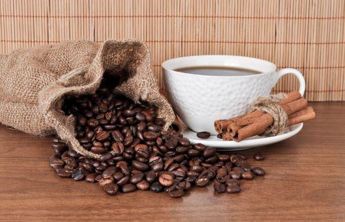 puodelis, kava, cinamonas, vis dar & nbsp, gyvenimas, maišas, audinys, grūdai, ruda, stalas, mediena, fonas, kava ir cinamonas