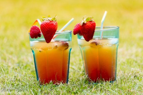 šalti gėrimai, Braškių, gėrimai, stiklo, akiniai, oranžinė, sultys, vasaros gėrimai, sodas