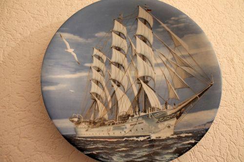 rinkimo plokštė,laivas,porcelianas,surinkti,rinkimas,sienos plokštė