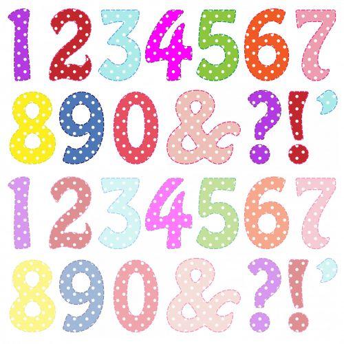 numeriai, numeris, skaičiai, vienas, du, trys, keturi, penki, šeši, septyni, aštuoni, devyni, šviesus, pastelė, spalvos, polka & nbsp, taškų, taškai, dėmės, Iliustracijos, iliustracija, Scrapbooking, susiuvami, susiuvimas, spalvingi skaičiai klipo