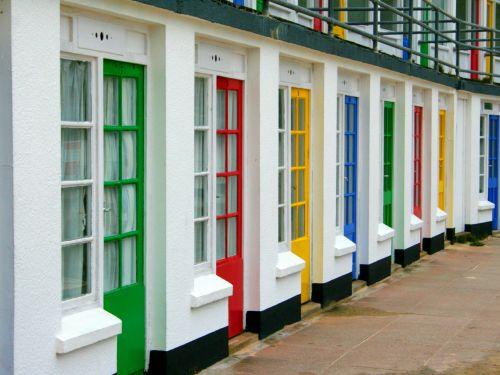 durys, spalvos, spalvos, papludimys, namelis, Chalet, tradicinis, pajūryje, st & nbsp, ives, cornwall, pirminis, spalvos, spalvos, spalvotos durys